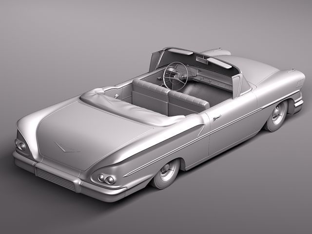 chevrolet bel air 1958 convertible 3d model max obj 3ds fbx lwo lw lws 9