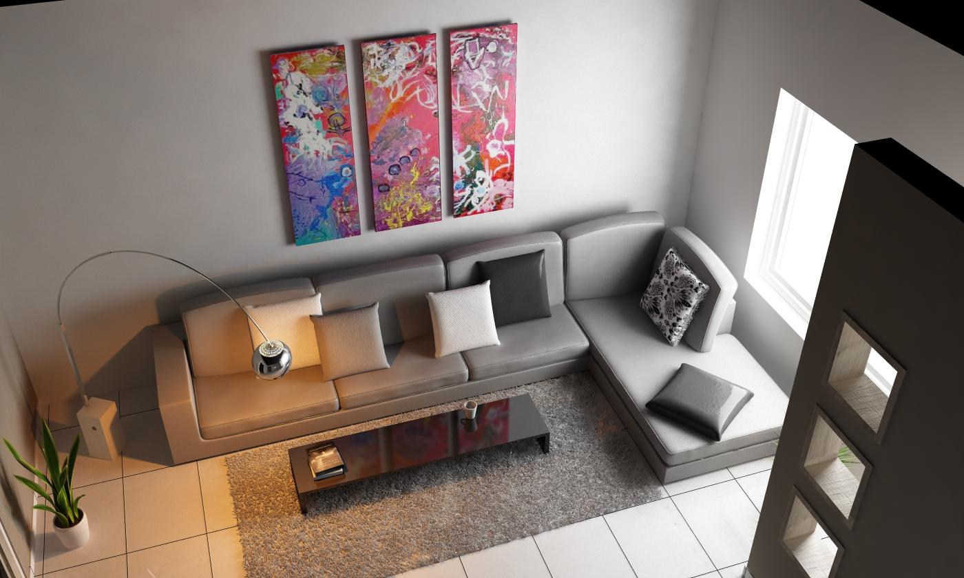 C4d Living Room Top View 3D Model C4D