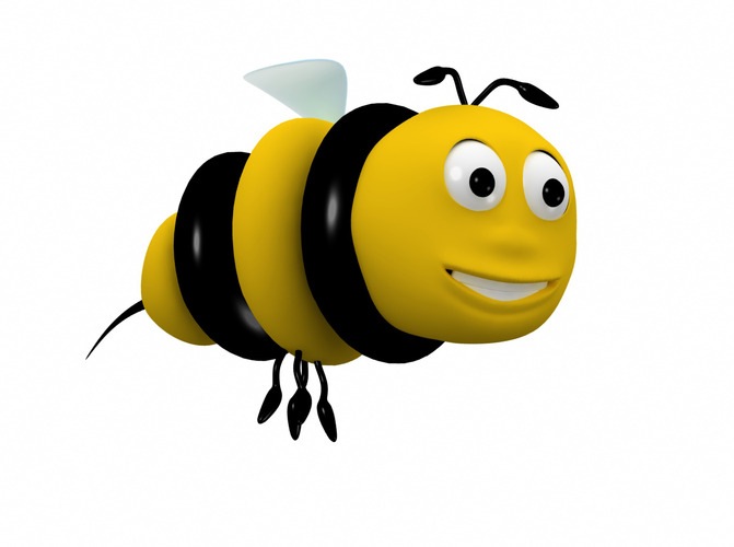 Bee cartoon character 3D Model animated rigged .max .obj ...