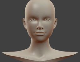 Base Female Head Mesh 3D Model