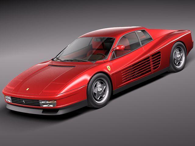 ferrari testarossa 1984-1990 3d model 3d model max obj mtl 3ds fbx c4d lwo lw lws 1