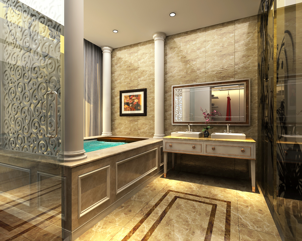 3d models photoreal bathroom 3d model max for Model bathrooms pictures