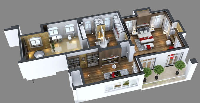 Photoreal bedroom floor Apartment3D model