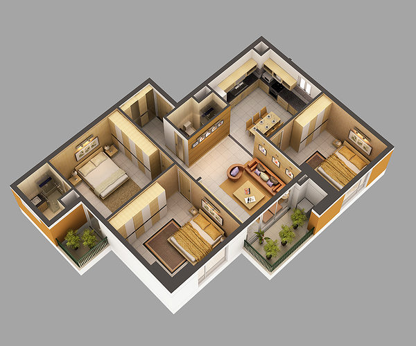 3d model home interior fully furnished cgtrader for New model house interior design