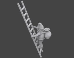 3d printable model santa on ladder