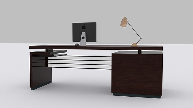 3d model computer desk vr ar low poly max obj fbx mtl