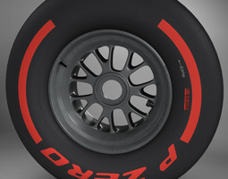F1 tyre supersoft front 3D