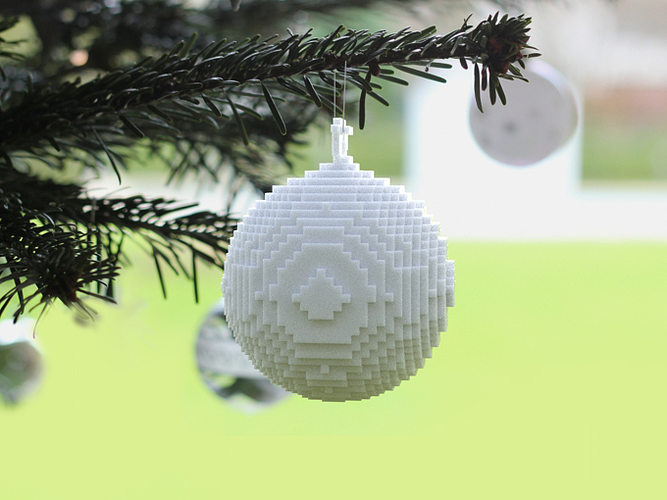 3d Printed Christmas Ornaments.3d Printed Pixellated Ornament 3d Print Model