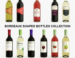 Bordeaux Wine Bottles Collection 11 pcs Pack 3D Model