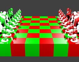 3d printable model north pole vs south pole christmas chess set