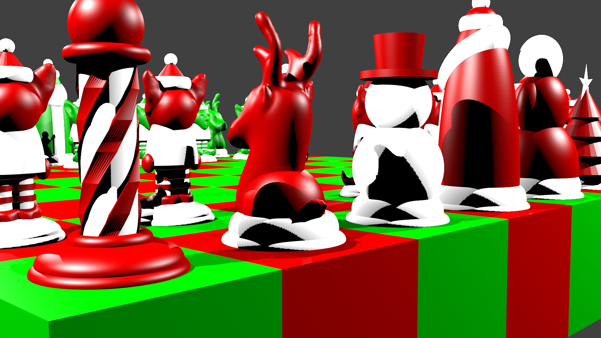 North Pole vs South Pole Christmas Chess Set 3D model 3D printable ...