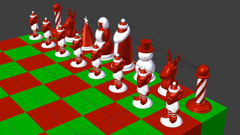North Pole Vs South Pole Christmas Chess Set 3d Model 3d