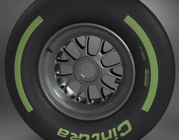 F1 tyre intermediate front 3D Model