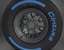 3D model F1 tyre wet rear