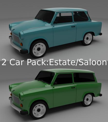 Trabant 601 estate saloon pack3D model