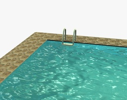 3d asset low poly swimming pool realtime