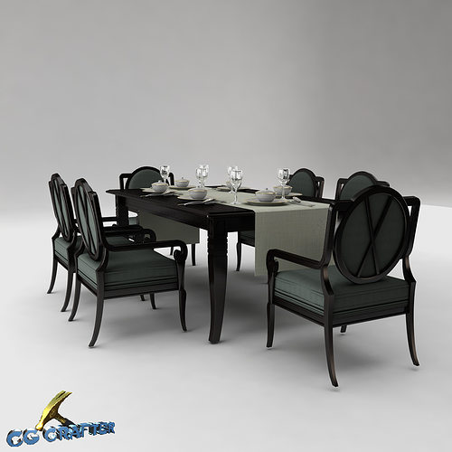 Dining table set 3d model cgtrader for Dining table latest model