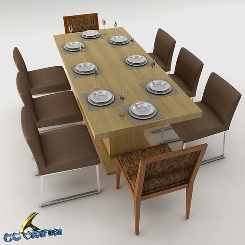 3d model room dining table set cgtrader for Dining room table 3ds max