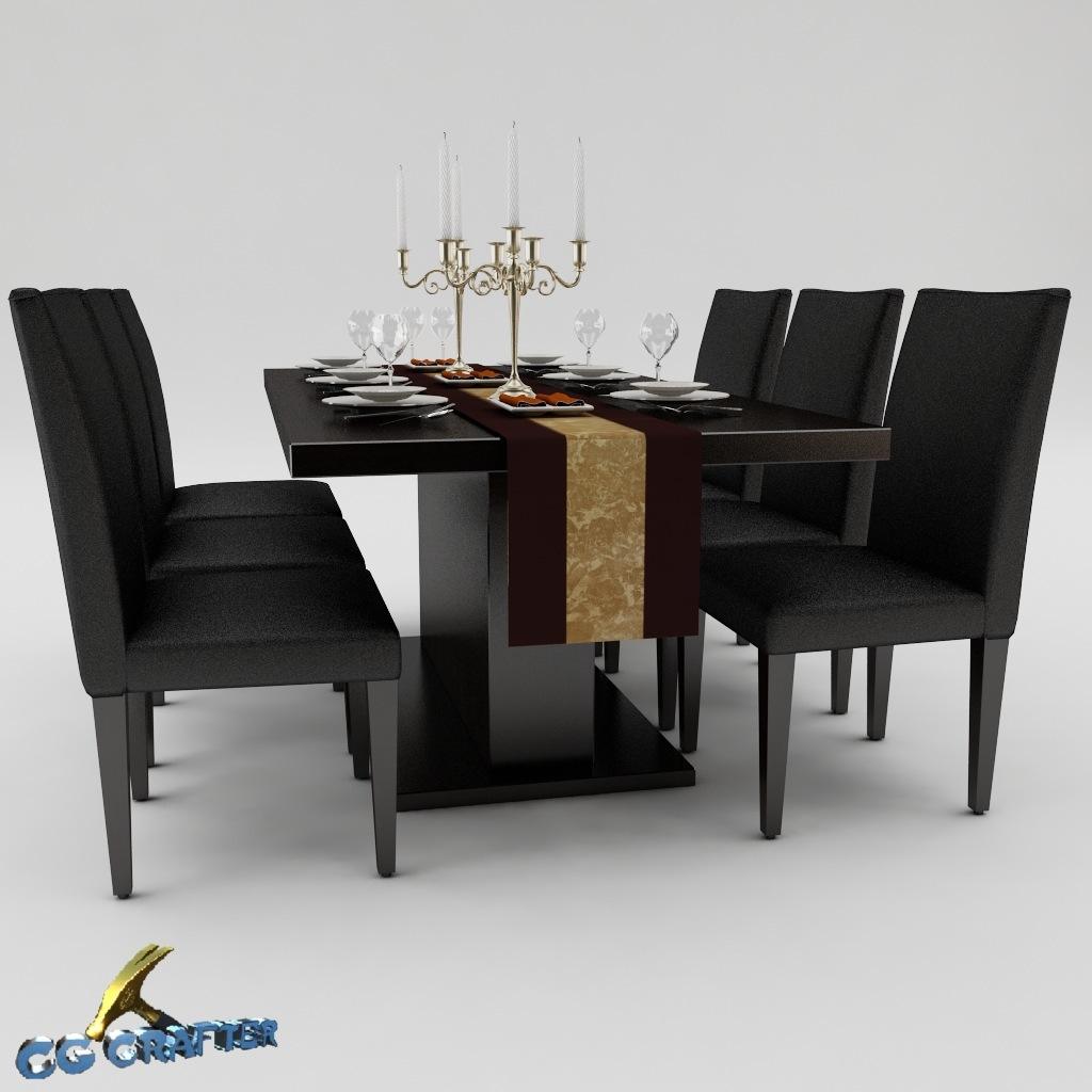 Dining table set 01 3d model max obj 3ds fbx for Dining table latest model