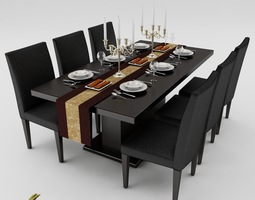 dining table set 01 3d model