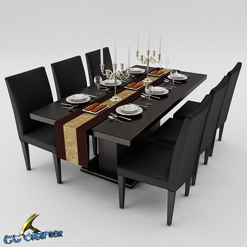 Dining table set set 3d model cgtrader for Dining table latest model