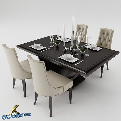 3d model dining dining table set cgtrader for Kitchen set 3ds max