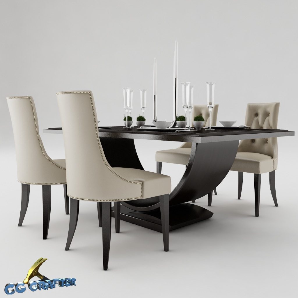 Dining table set 3d model max obj 3ds fbx for Dining table set