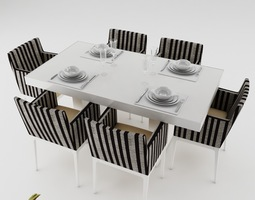 Dining table set dinning-table 3D model