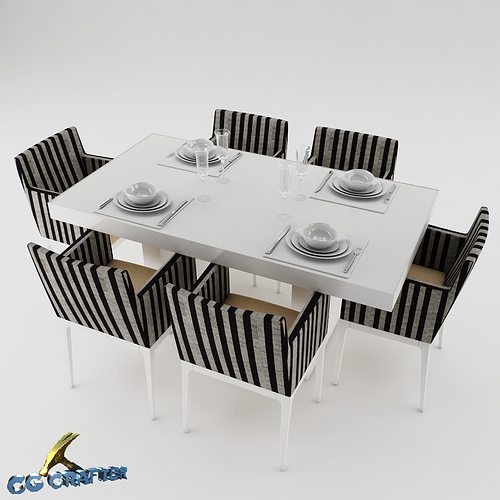 Dining table set dinning table 3d model cgtrader for New model dining table