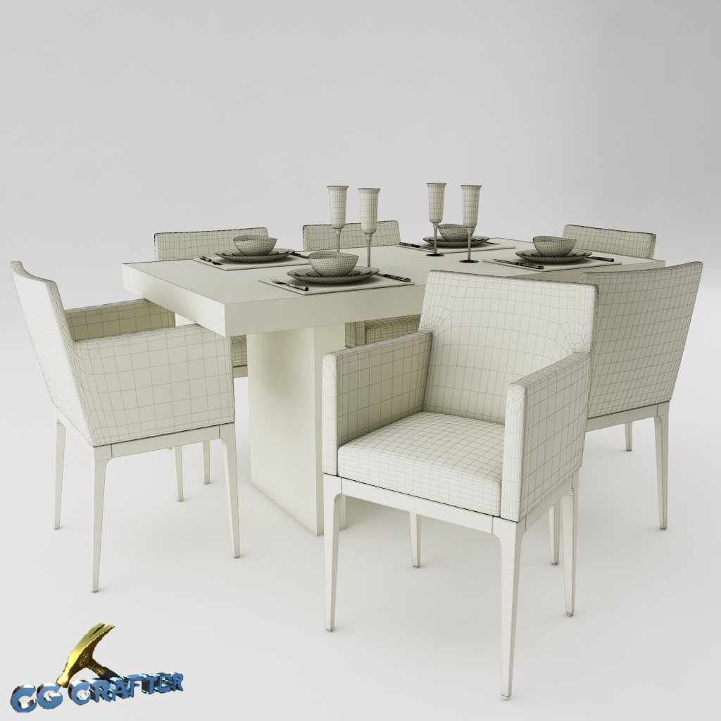 Dining table set 3d model max 3ds fbx mtl for New model dining table