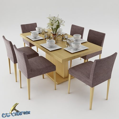 Desk 3d dining table set cgtrader for Dining table latest model