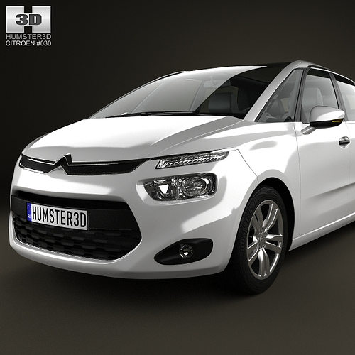 white citroen c4 picasso 2014 3d model max obj 3ds fbx c4d lwo lw lws. Black Bedroom Furniture Sets. Home Design Ideas