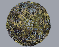 Linked Star Sphere Bars 3D Model