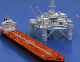 Oil platform with tankership 3D