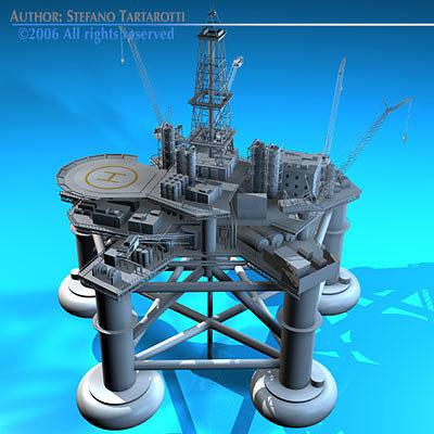 oil platform 3d model obj 3ds fbx c4d dxf 1