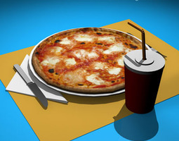 3D model Pizza table set