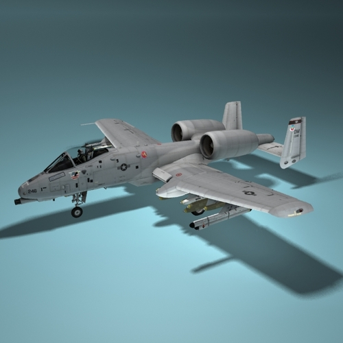 A10 Warthog Tankbuster Aircraft 3D Model rigged .max .3ds .fbx .c4d ...