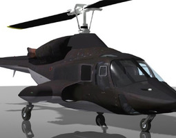 3D model animated Airwolf Bell 222 Helicopter