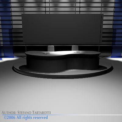 3d tv news studio cgtrader for Architect studio 3d online room design