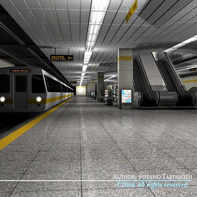 subway station with train 3d model obj 3ds c4d dxf. Black Bedroom Furniture Sets. Home Design Ideas