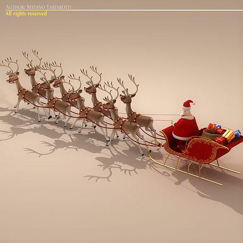 120in Wide Giant Santa Sleigh Two Reindeer Set: Toon Santa In Sleigh With Reindeer 3D Model OBJ 3DS FBX