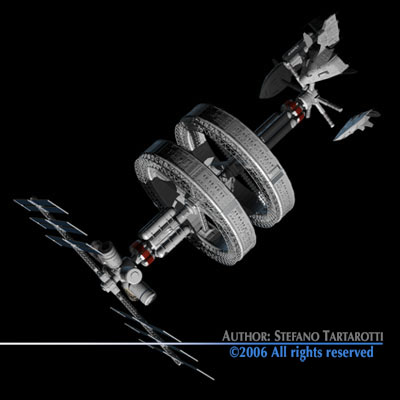 Space station with spaceships 3d model obj 3ds c4d dxf for Space station 13 3d