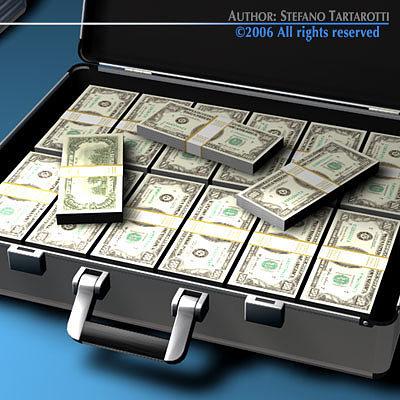suitcase with dollars 3d model obj 3ds c4d dxf 1
