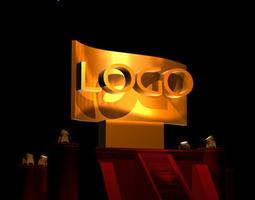 3D model Hollywood style logo scene