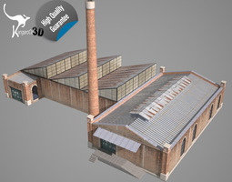 old factory low-poly 3d model