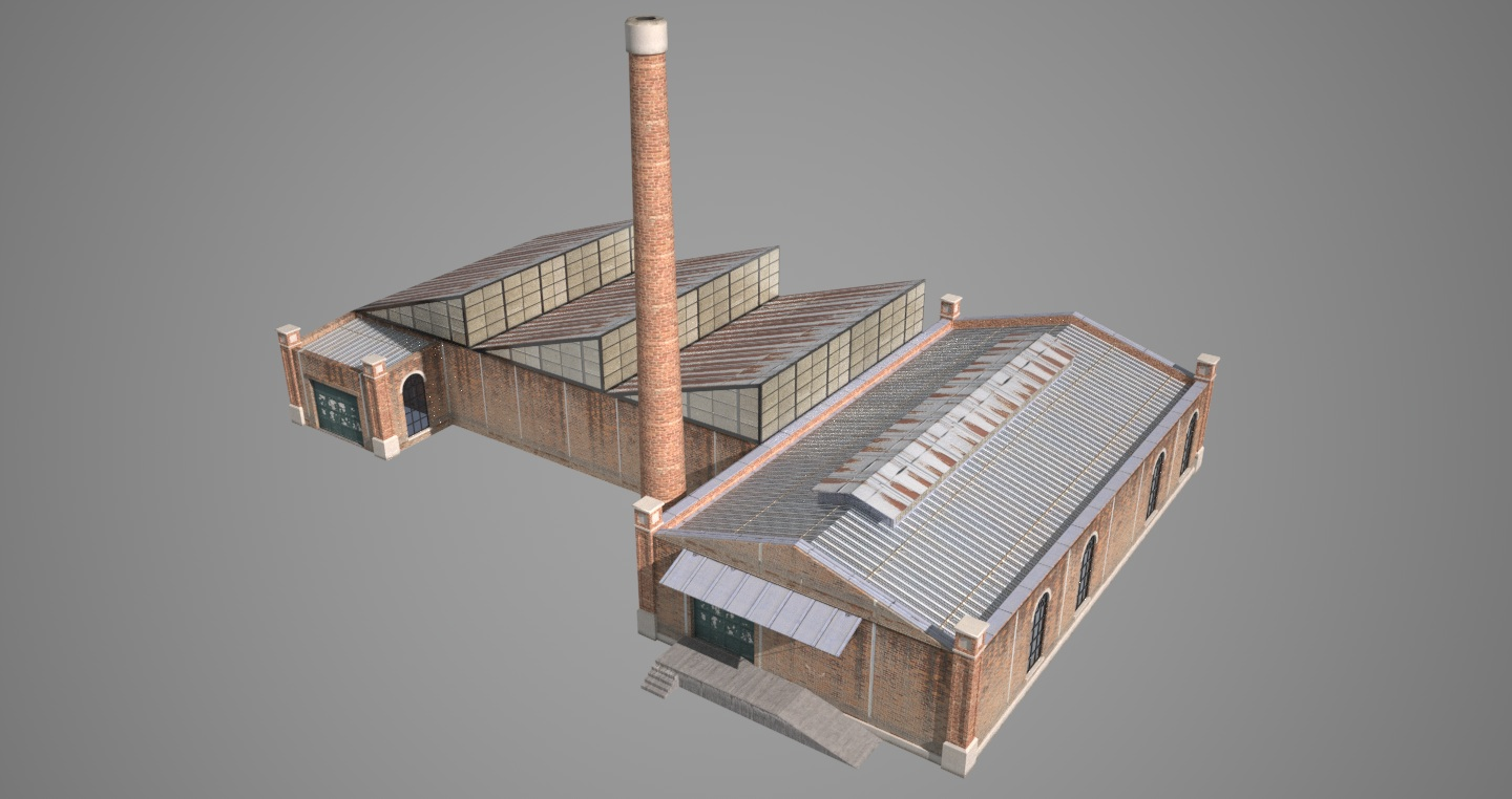 Old factory 3d model game ready 3ds hrc xsi dae skp for Exterior 3d model