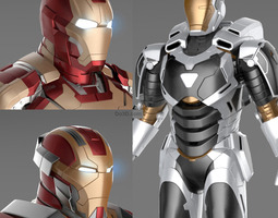 Iron Man 3 Suits - Mark 42 Mark 17 and Mark 39 r 3D Model