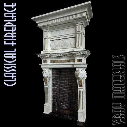 fireplace 3d model max obj mtl 1