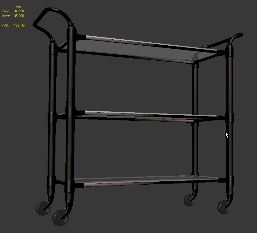 Kitchen Trolley Interior: Food Service Trolley 3D Model .max .obj .3ds .dwg .mtl