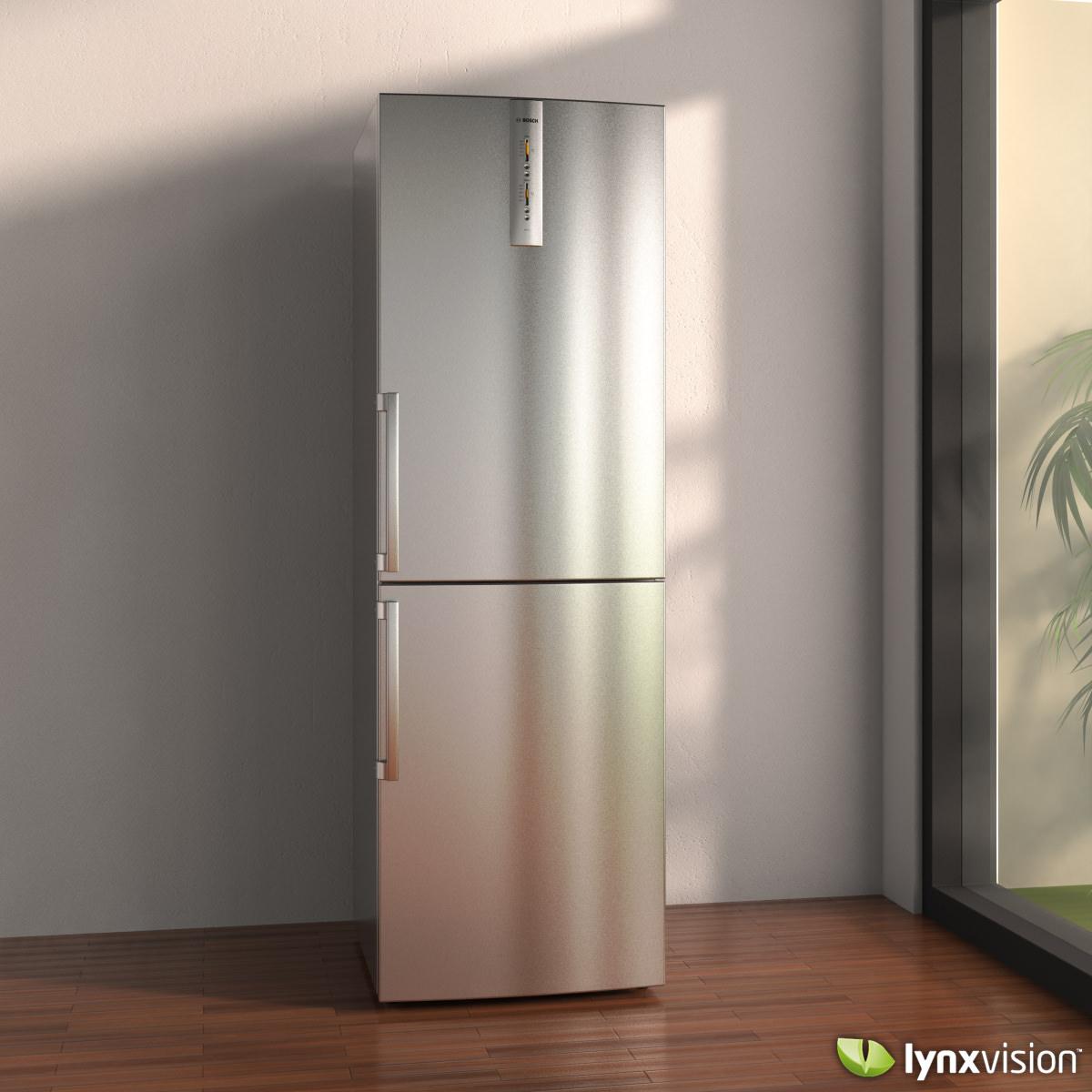 Bosch Bottom Freezer Refrigerator 3d Model Max Obj Fbx